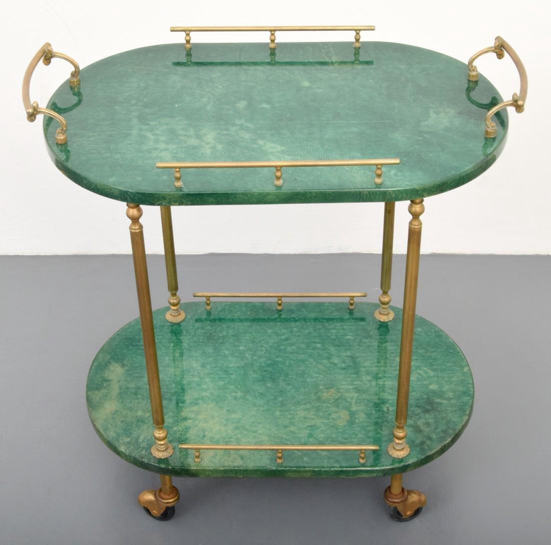 Aldo Tura Goatskin Tea Cart - 3