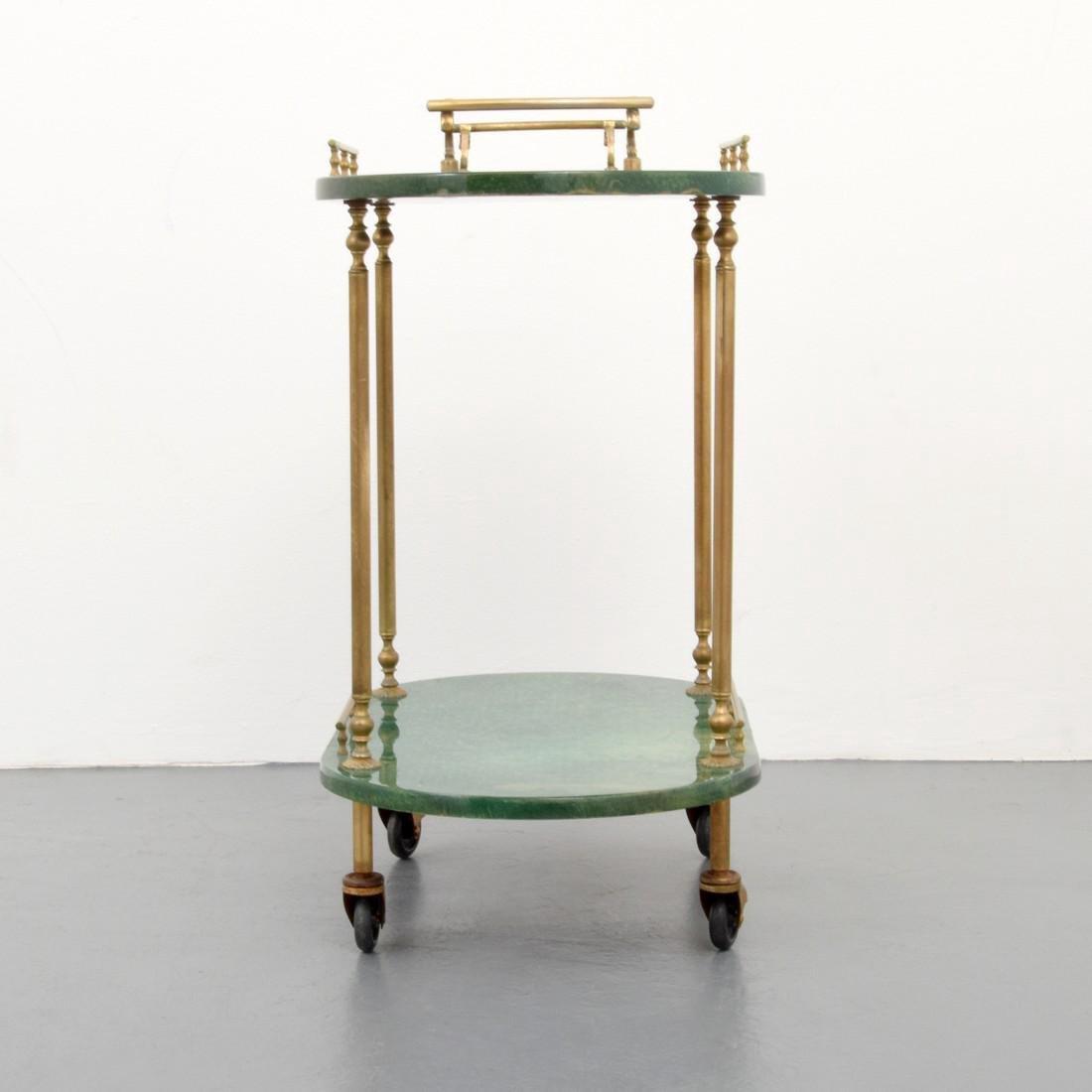 Aldo Tura Goatskin Tea Cart - 7