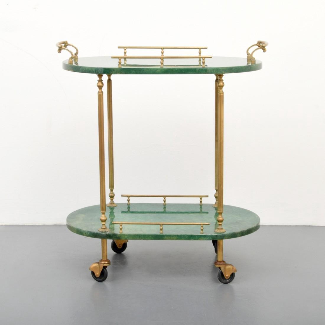 Aldo Tura Goatskin Tea Cart - 8