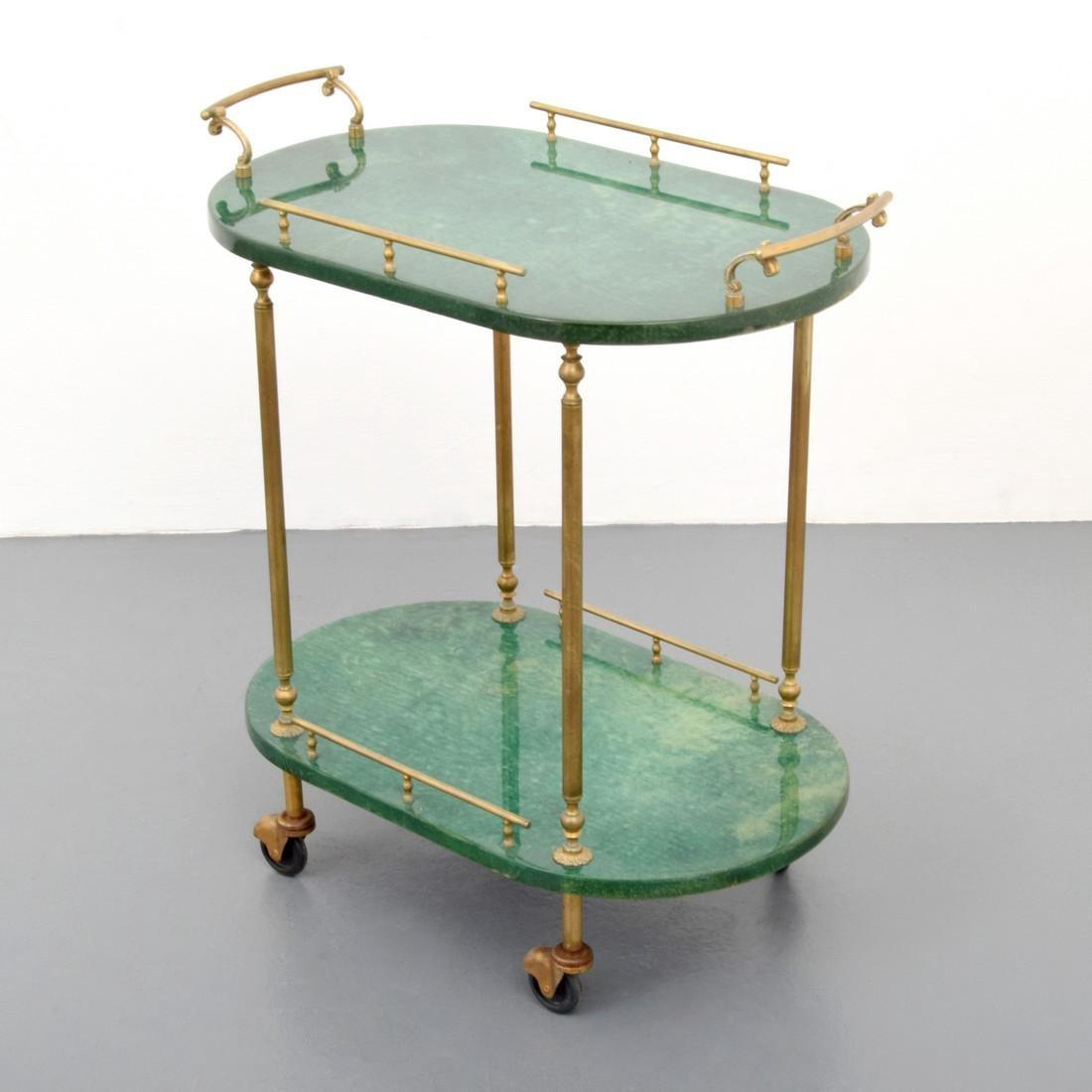 Aldo Tura Goatskin Tea Cart - 9