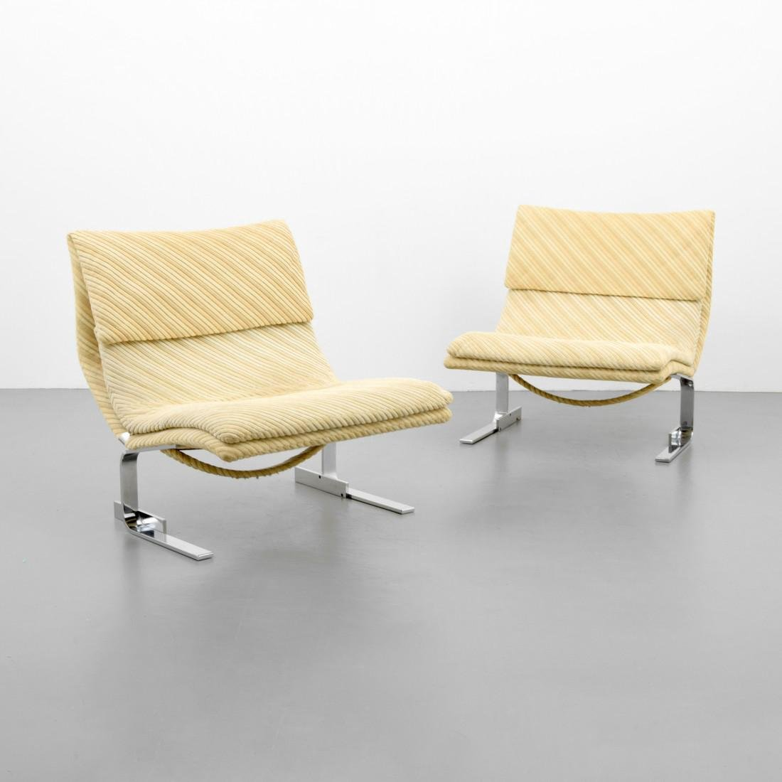 Pair of Giovanni Offredi WAVE / ONDA Lounge Chairs - 8