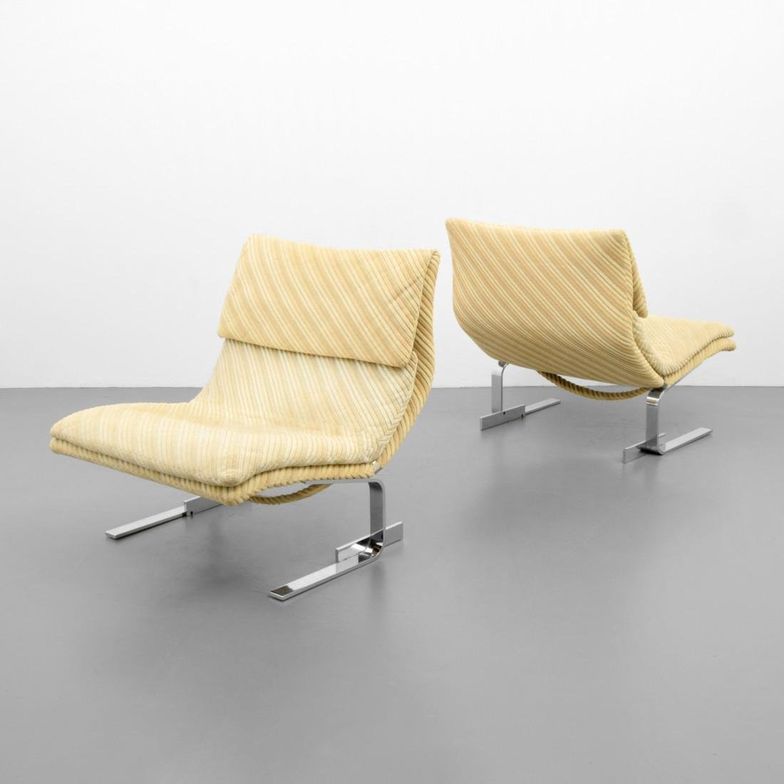 Pair of Giovanni Offredi WAVE / ONDA Lounge Chairs - 9