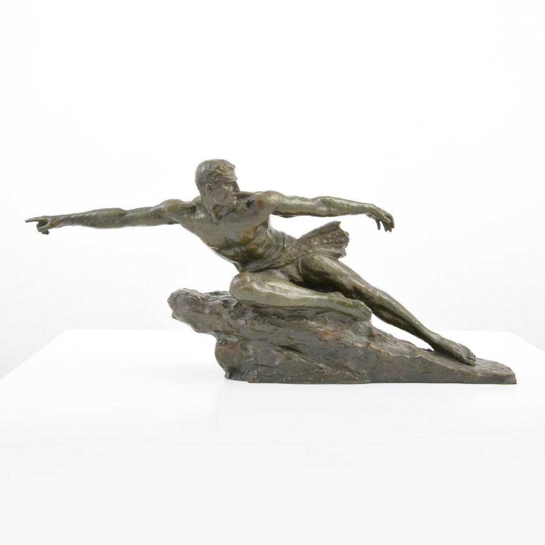 Large Pierre Le Faguays Art Deco Figural Sculpture