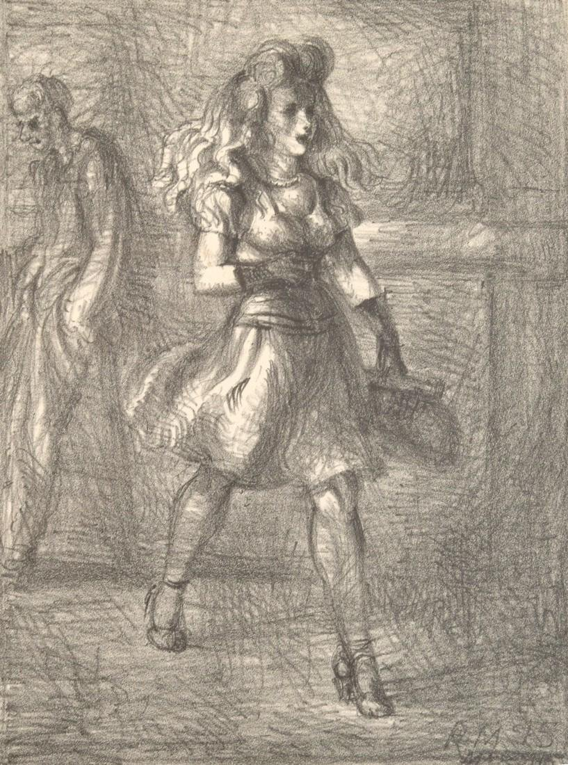 Reginald Marsh Lithograph, GIRL WALKING, Signed
