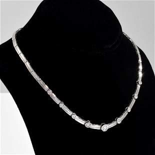 14K White Gold Diamond Vintage Estate Necklace