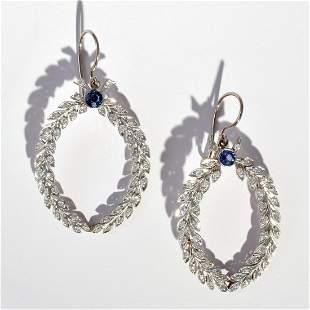 Pair of 18K White Gold Diamond Iolite Estate Earrings