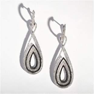 Pair of 14K White Gold Diamond Vintage Estate Earrings