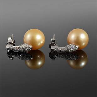 Pair of 18K White Gold Diamond Pearl Estate Earrings