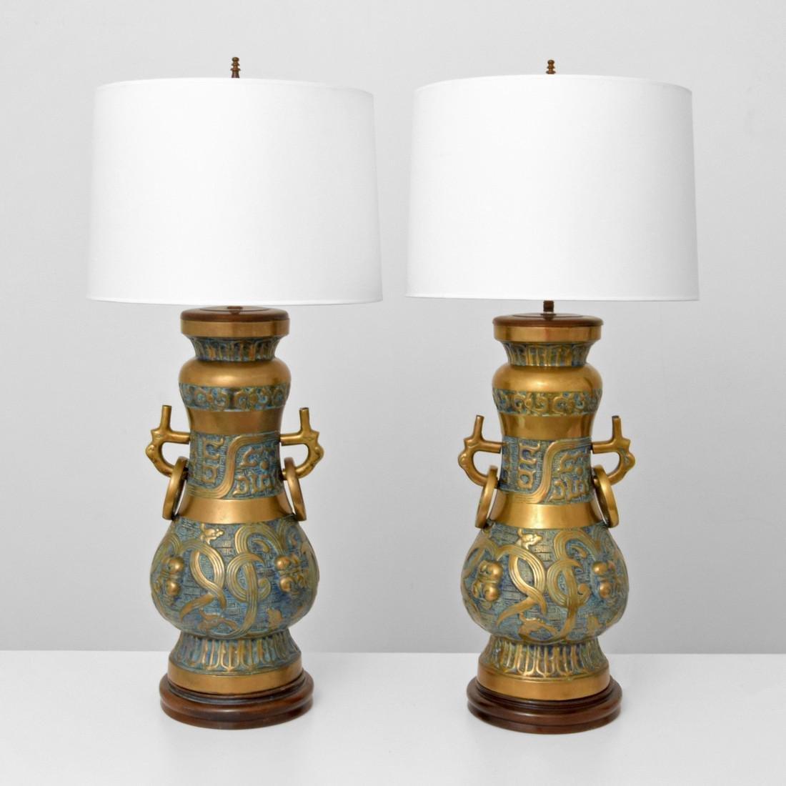 Pair of Monumental Pepe Mendoza Lamps