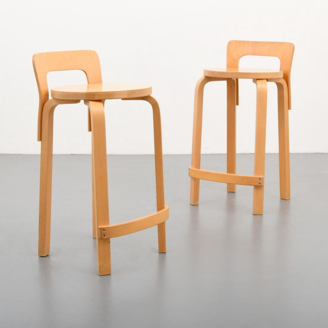 Pair of Alvar Aalto K65 Bar Stools