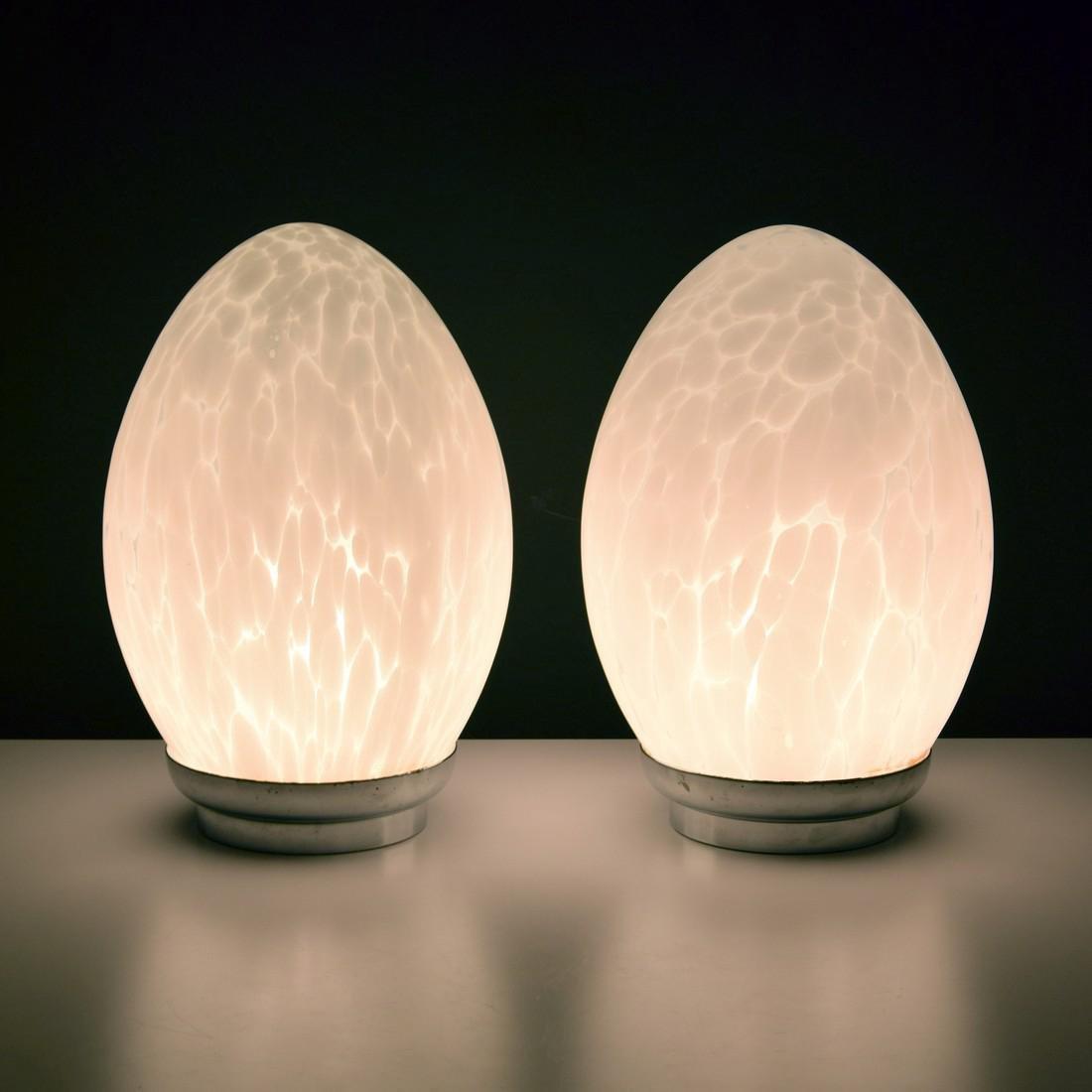 Pair of Murano Egg Lamps