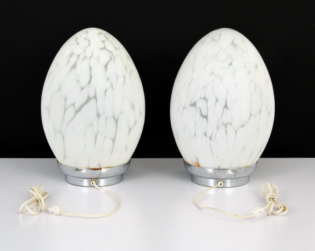 Pair of Murano Egg Lamps - 2
