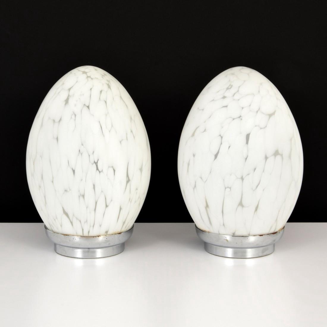 Pair of Murano Egg Lamps - 7