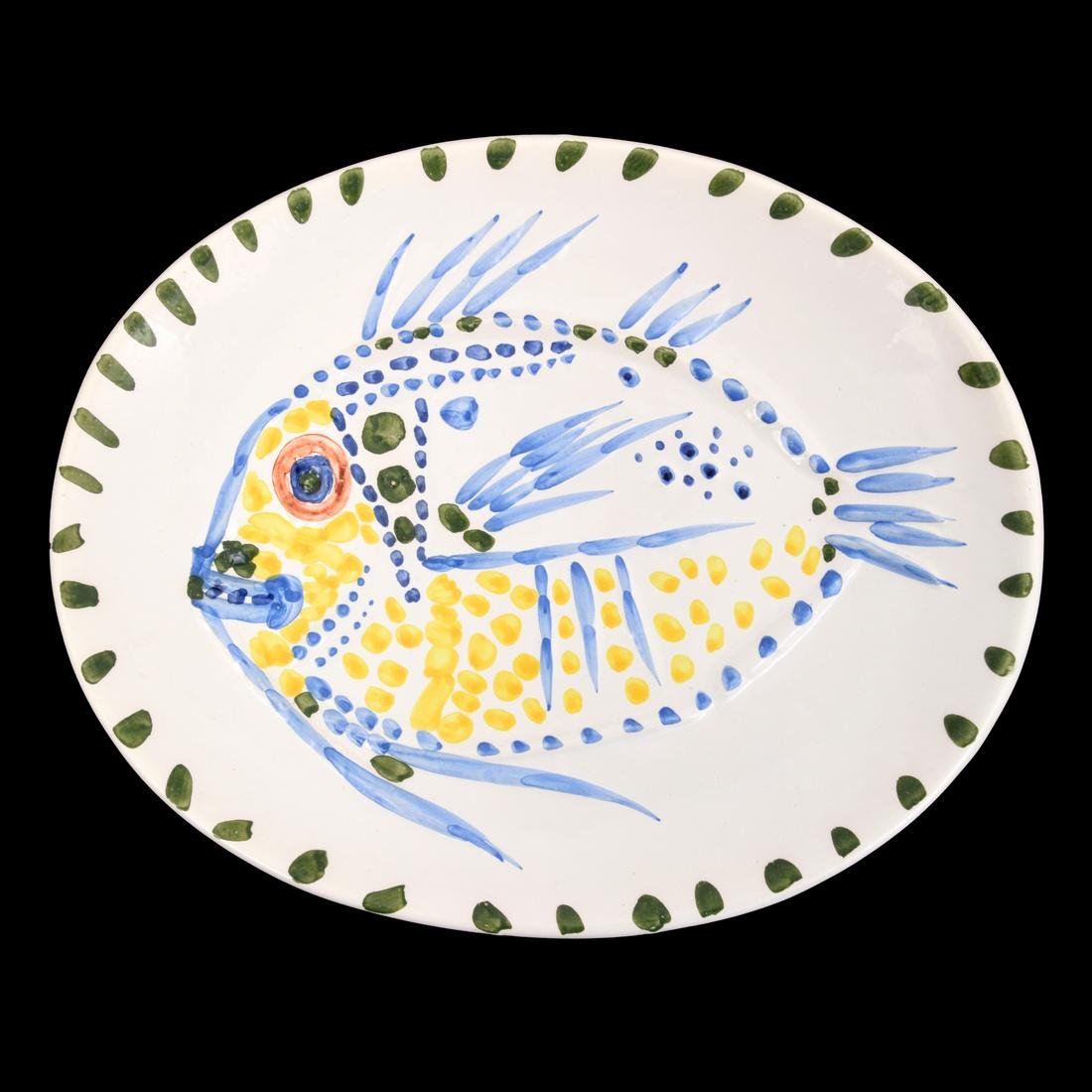 Pablo Picasso POISSON FOND BLANC Charger (A.R. 168)