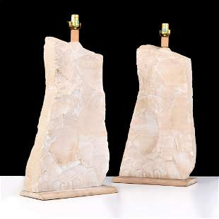 Pair of Massive Rock Form Lamps Attributed to Sirmos