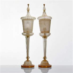 Pair of Monumental Barovier & Toso Lamps