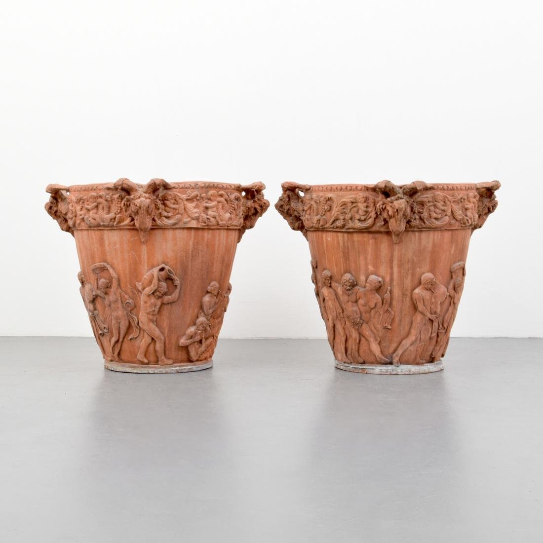 Pair of Large Classical Terracotta Urns/Planters
