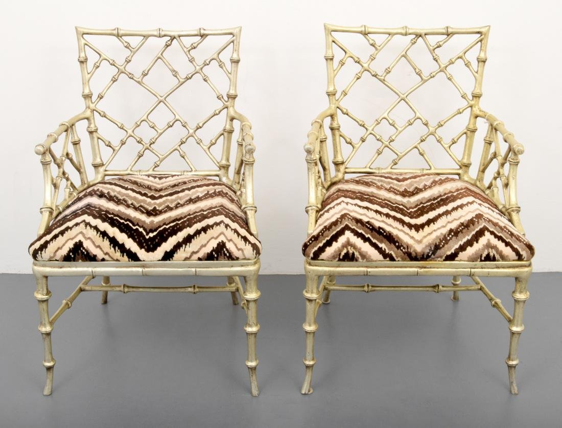 Pair of Phyllis Morris Originals Faux Bamboo Arm Chairs - 10