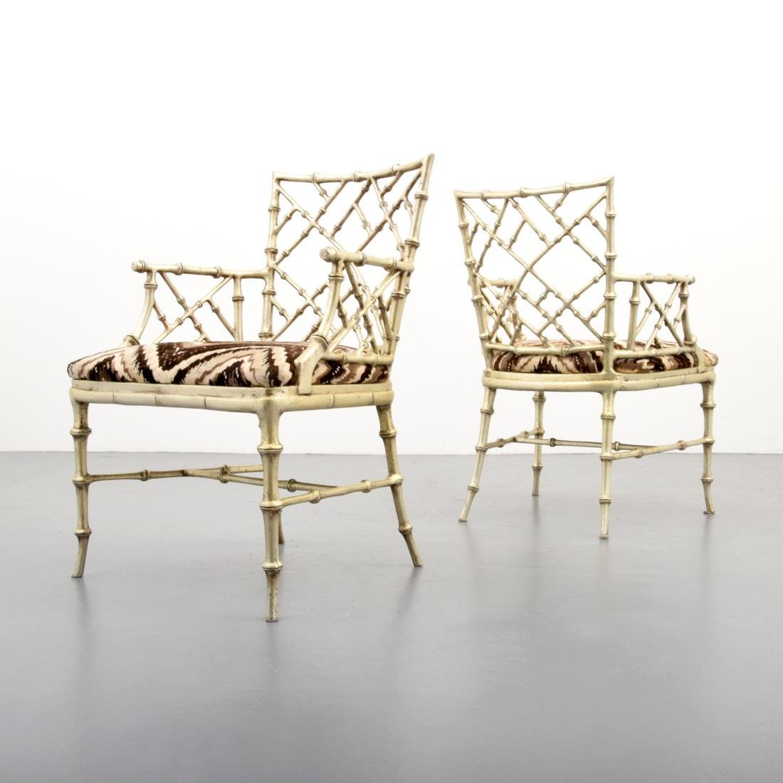 Pair of Phyllis Morris Originals Faux Bamboo Arm Chairs