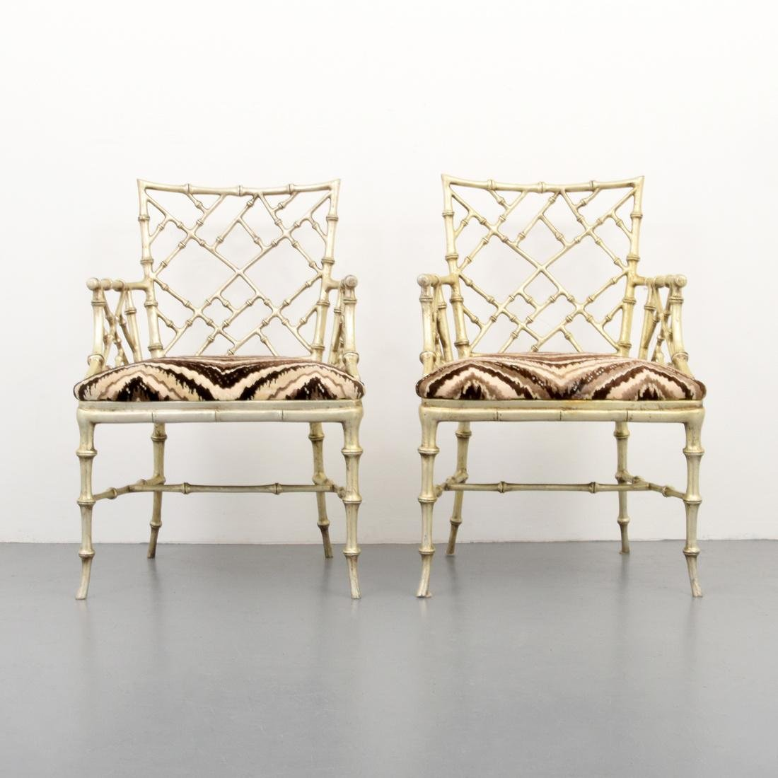 Pair of Phyllis Morris Originals Faux Bamboo Arm Chairs - 2