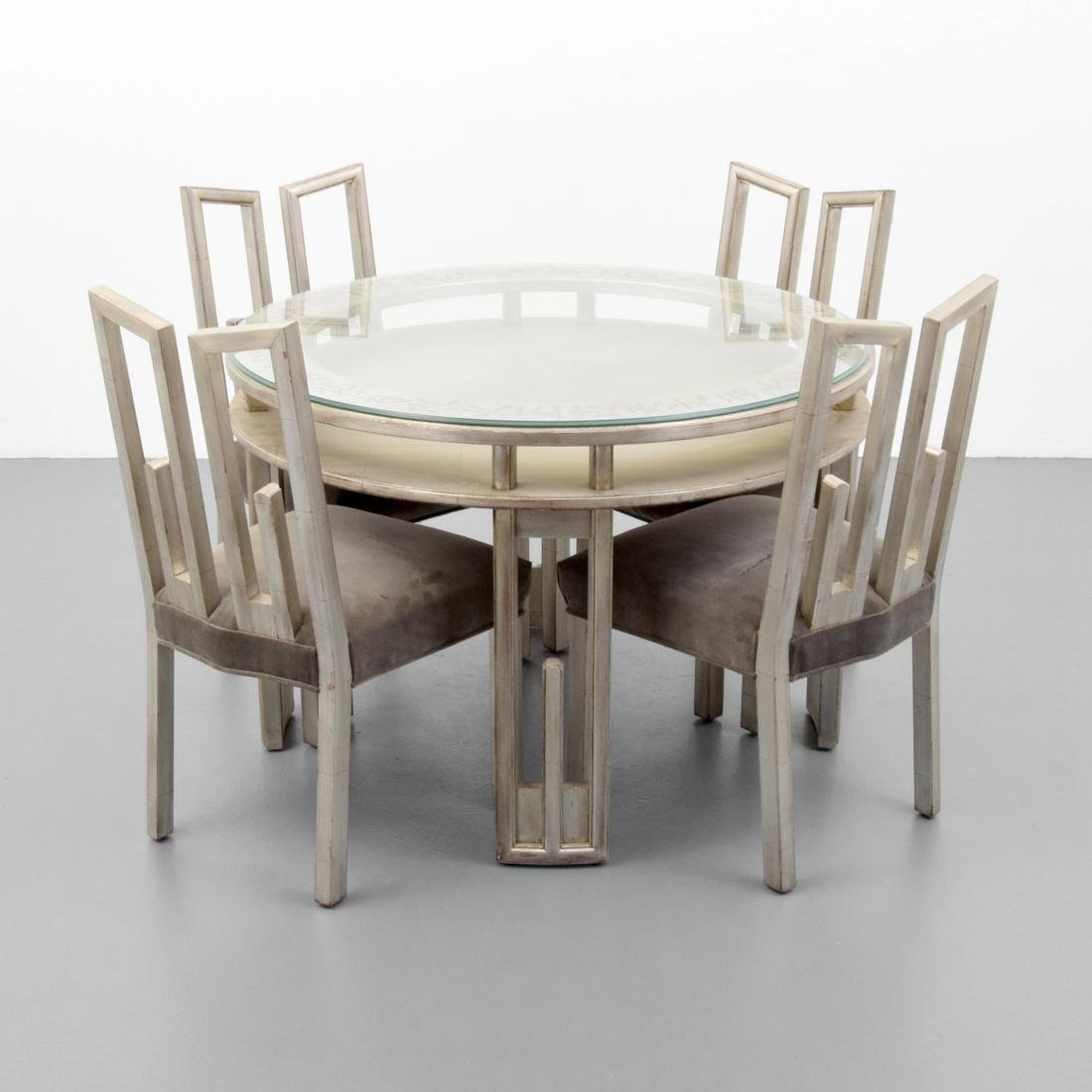 James Mont Dining Table & Set of 4 Chairs