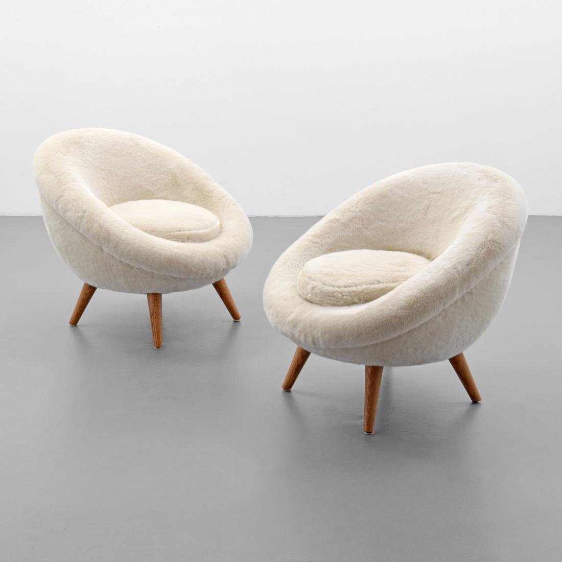 Pair of Jean Royere GRAND OEUF (EGG) Lounge Chairs