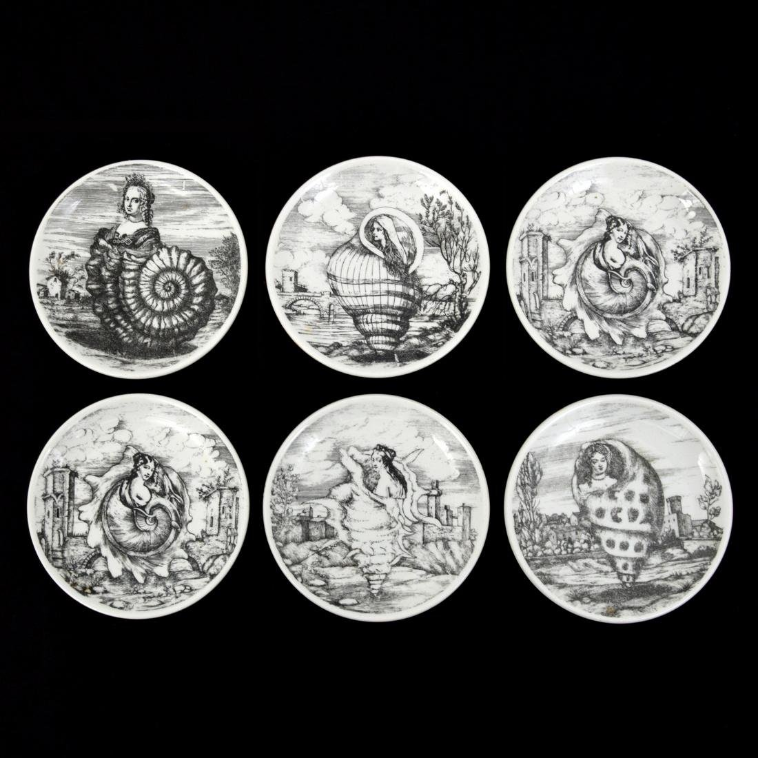 Piero Fornasetti LE OCEANIDI Coasters, Set of 6 - 10