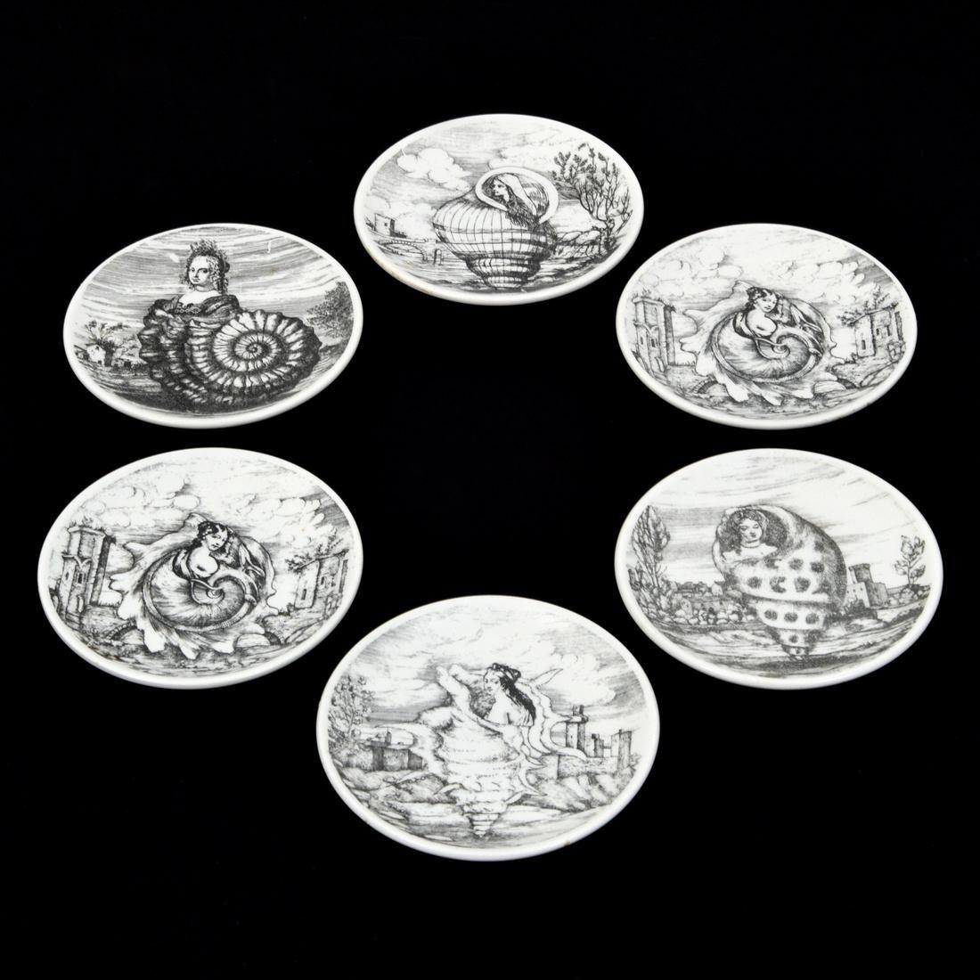 Piero Fornasetti LE OCEANIDI Coasters, Set of 6