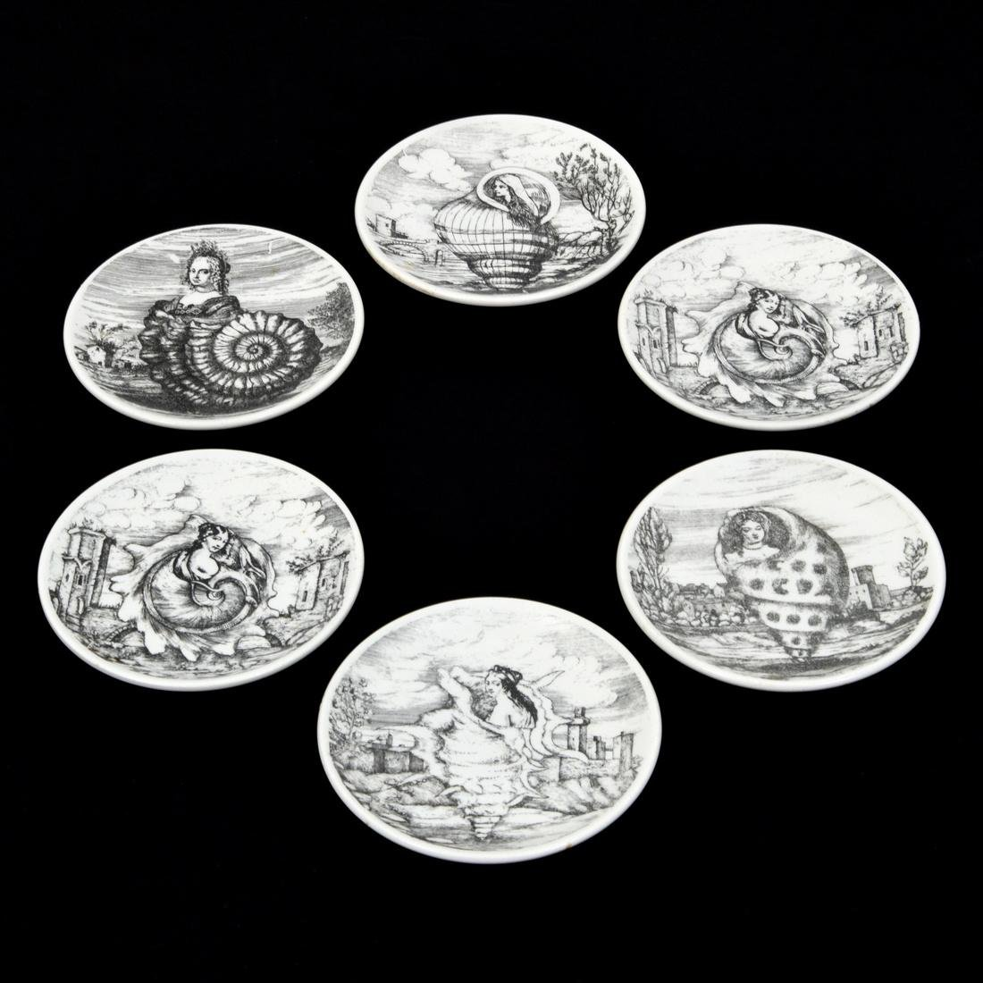 Piero Fornasetti LE OCEANIDI Coasters, Set of 6