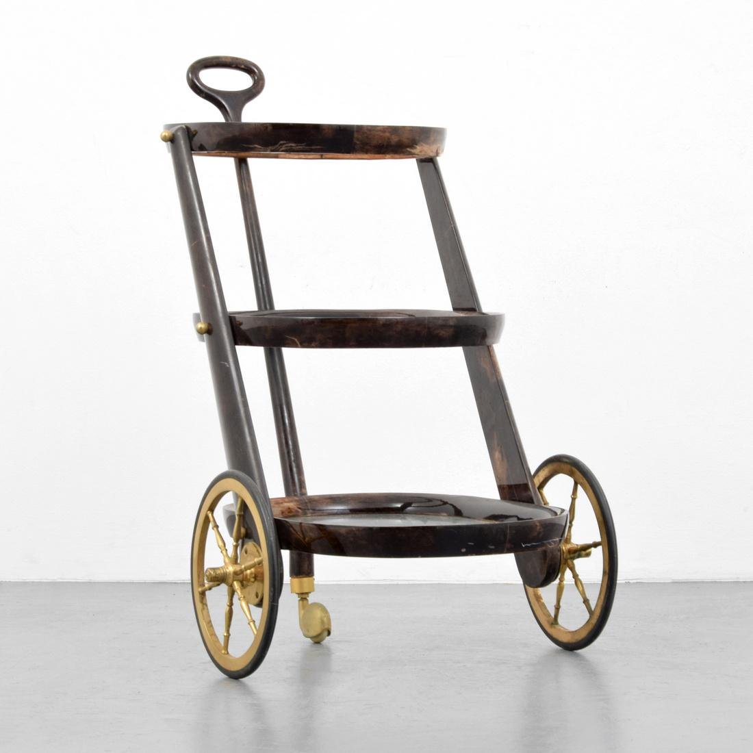 Aldo Tura Goat Skin Bar Cart