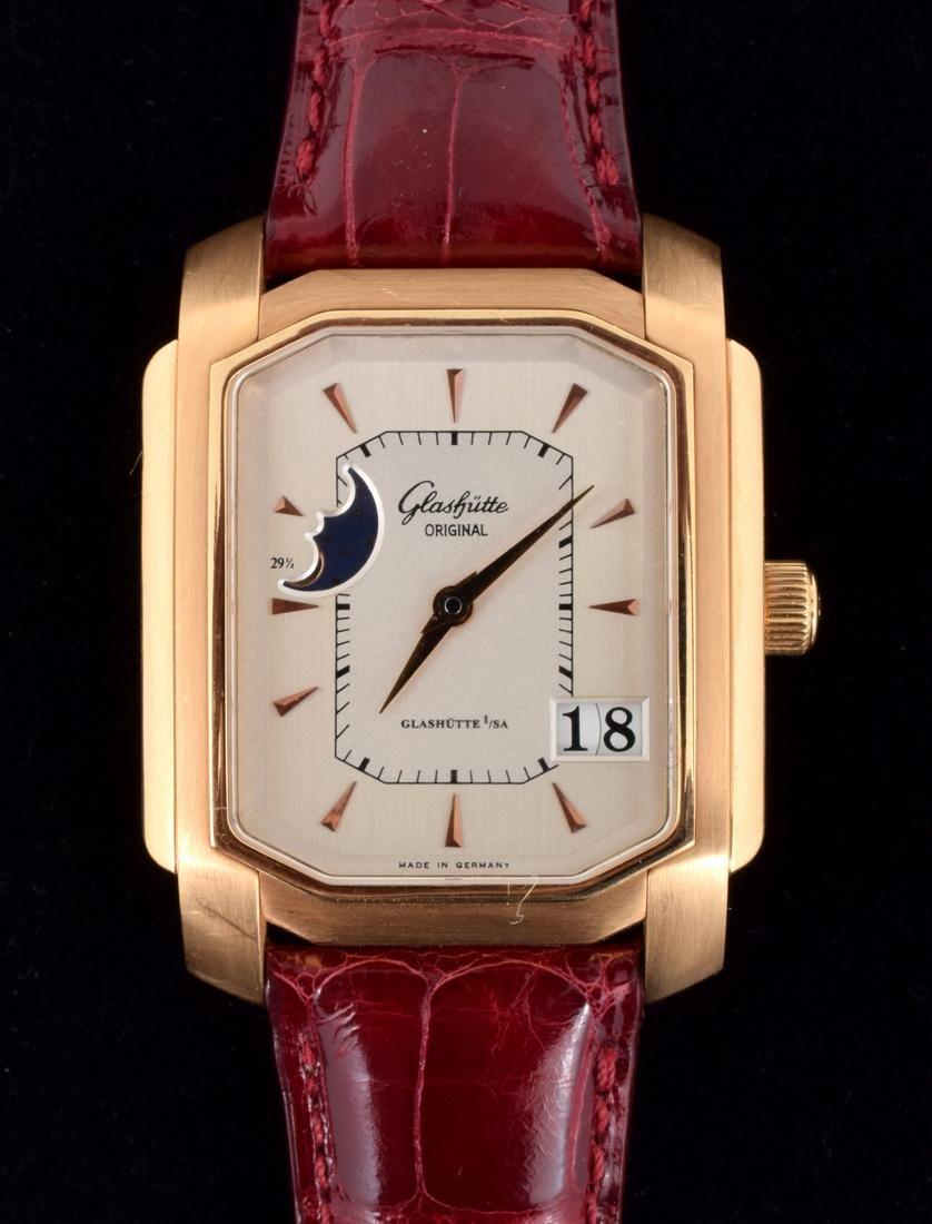 18K Gold Glashutte Men's Vintage Estate Wrist Watch - 4