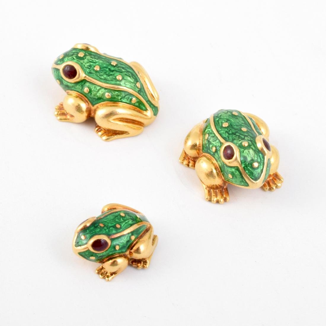 David Webb 18K Yellow Gold Frog Tie Pin & Cuff Links