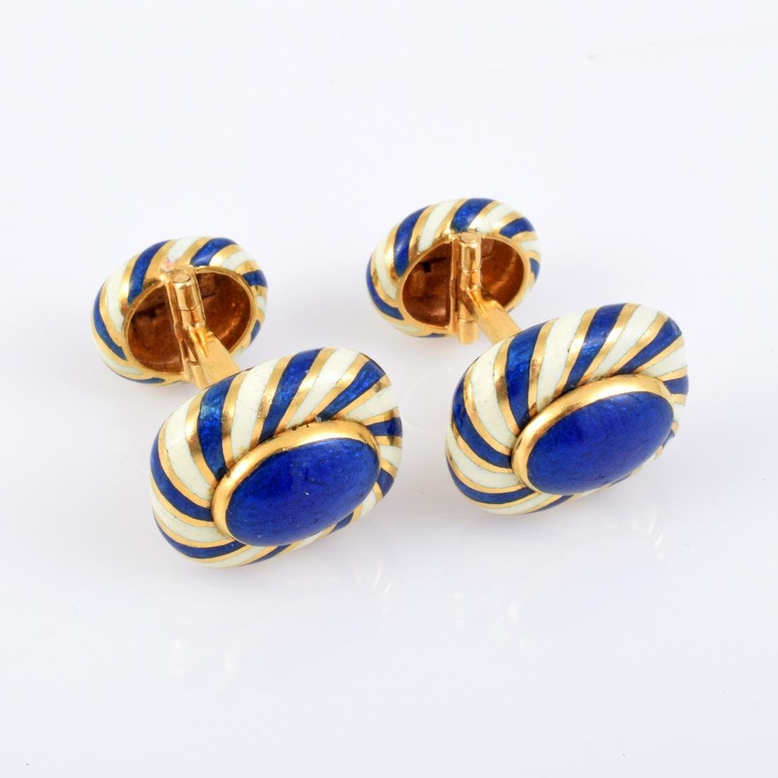 David Webb 18K Yellow Gold Turban Style Cuff Links