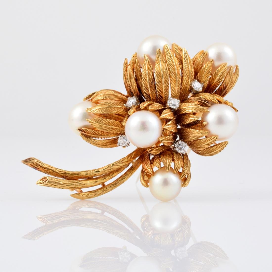 Van Cleef & Arpels 18K Gold, Diamond & Pearl Brooch