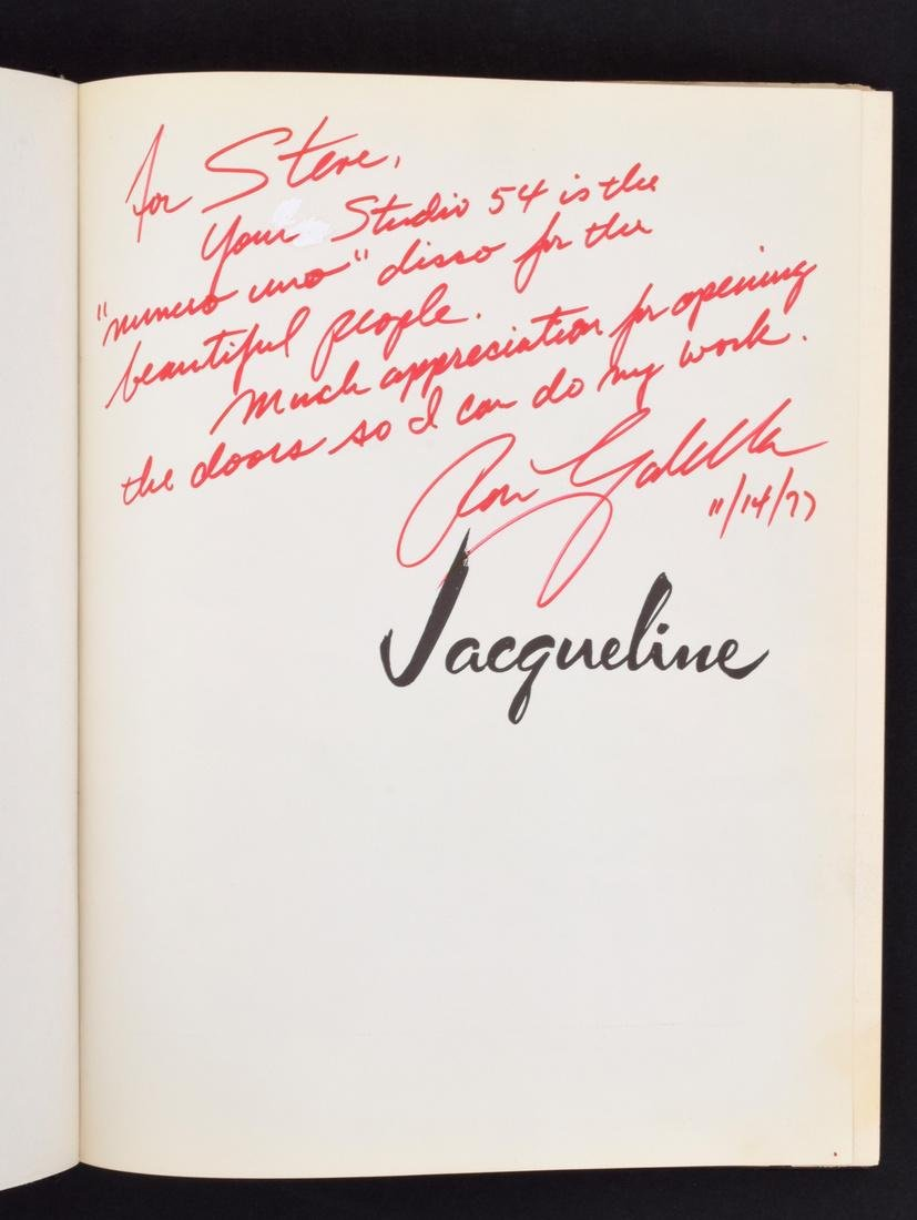 Signed JACQUELINE Book, Estate of Steve Rubell/Studio