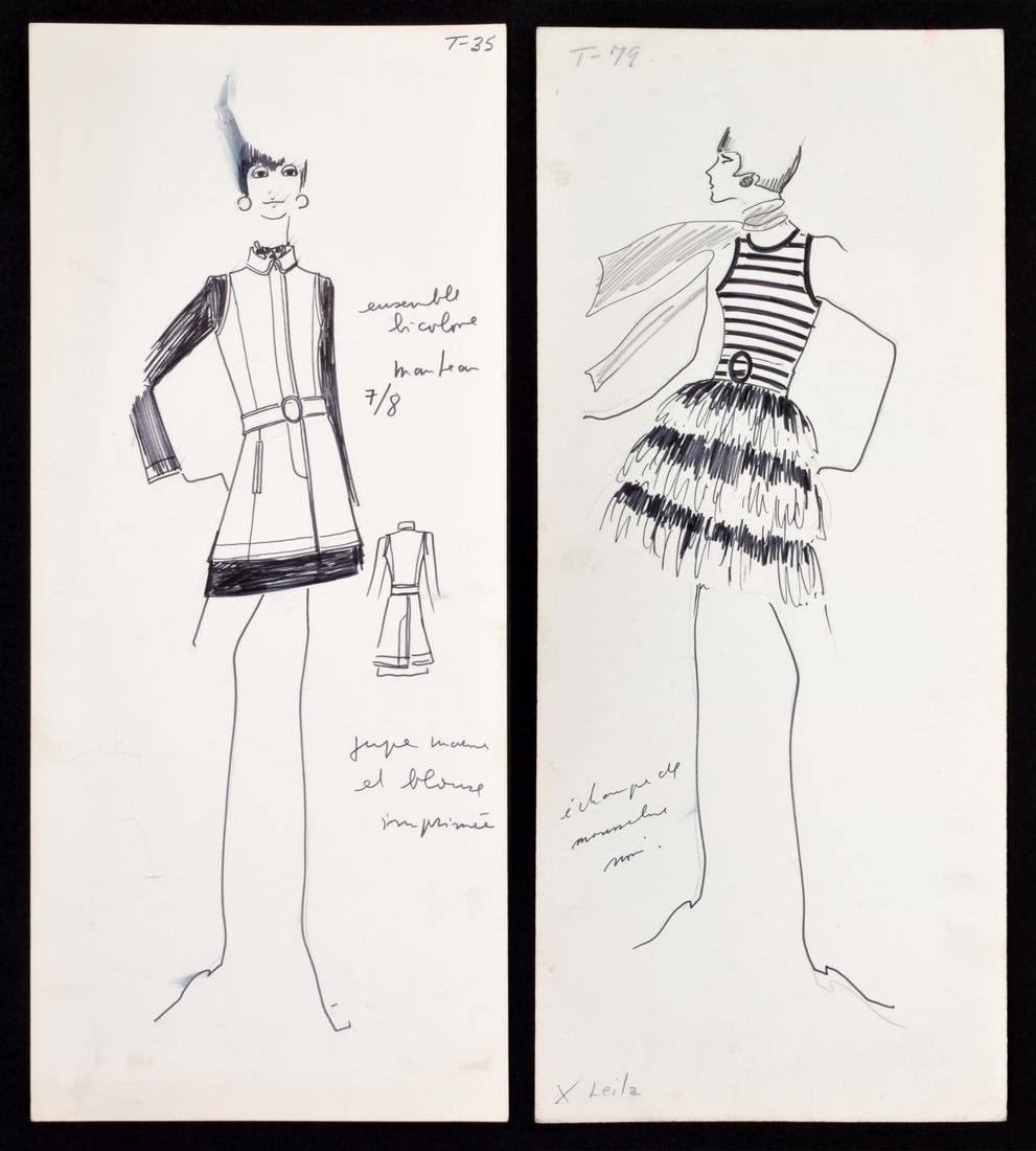 2 Karl Lagerfeld Fashion Drawings, Original Works
