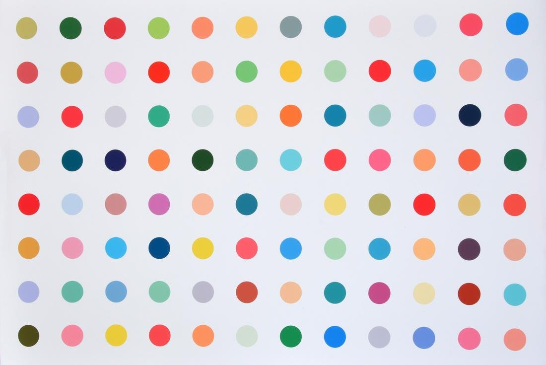 Colorful Polka Dot Print, Manner of Damien Hirst