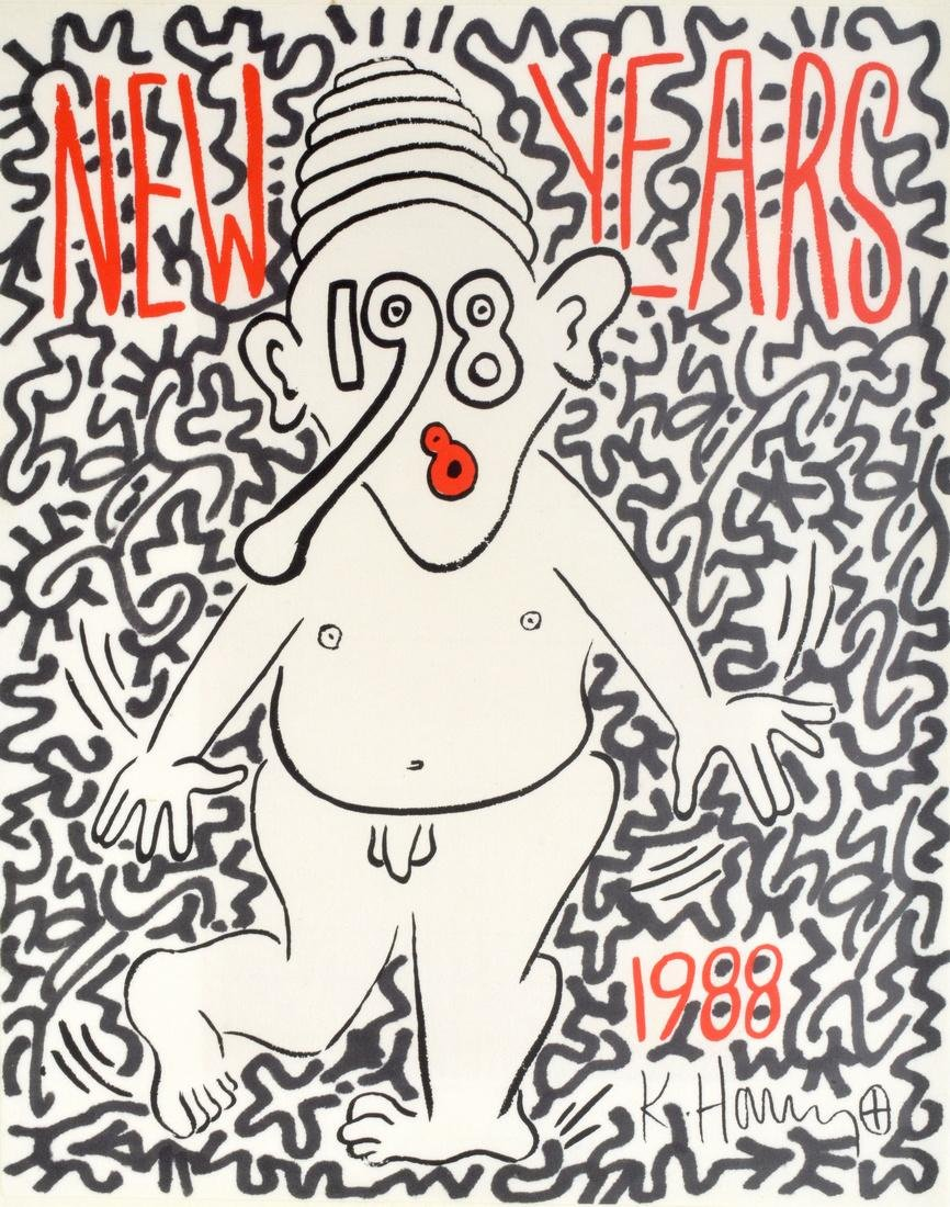 Keith Haring & LA II (Angel Ortiz) Screenprint, Signed