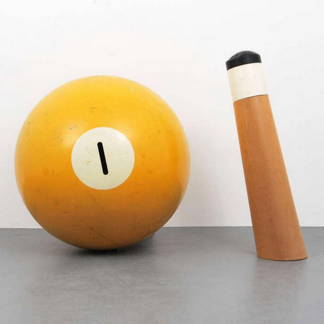 Large Pop Art Billiard Ball & Cue Stick Sculpture