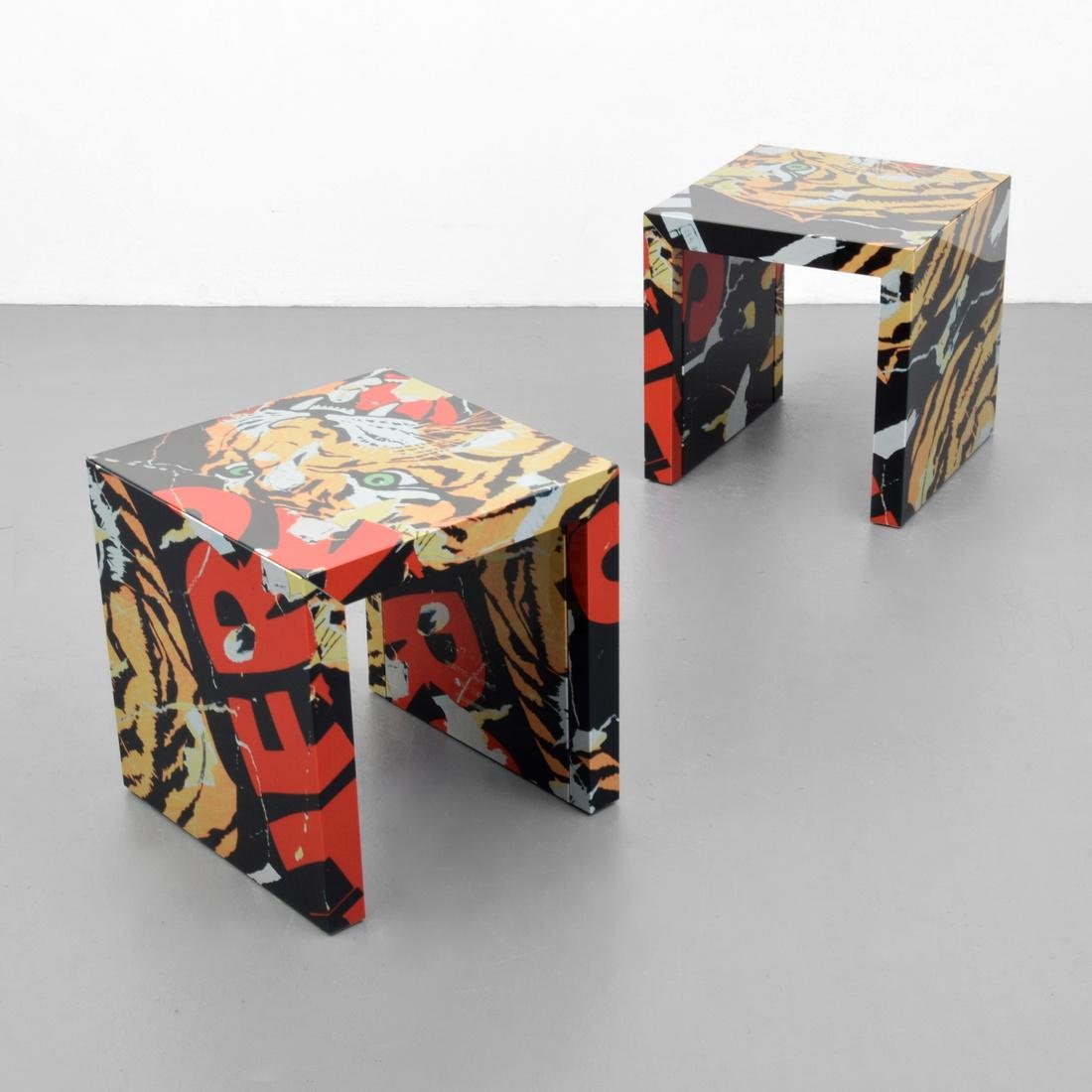 2 Mimmo Rotella & Marco Ferreri End Tables, Limited Ed.