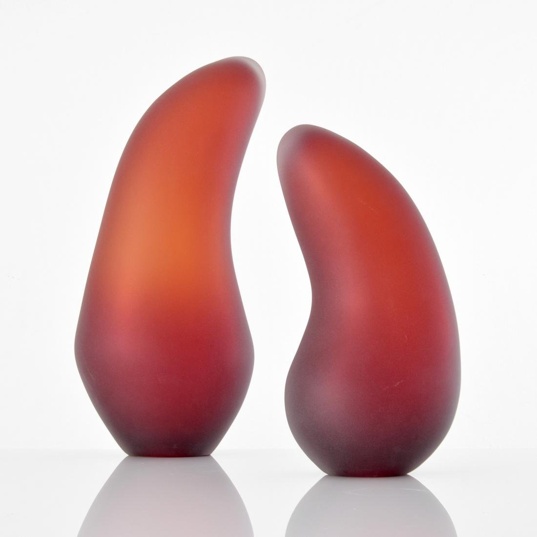Pair of Bernard Katz Glass Sculptures