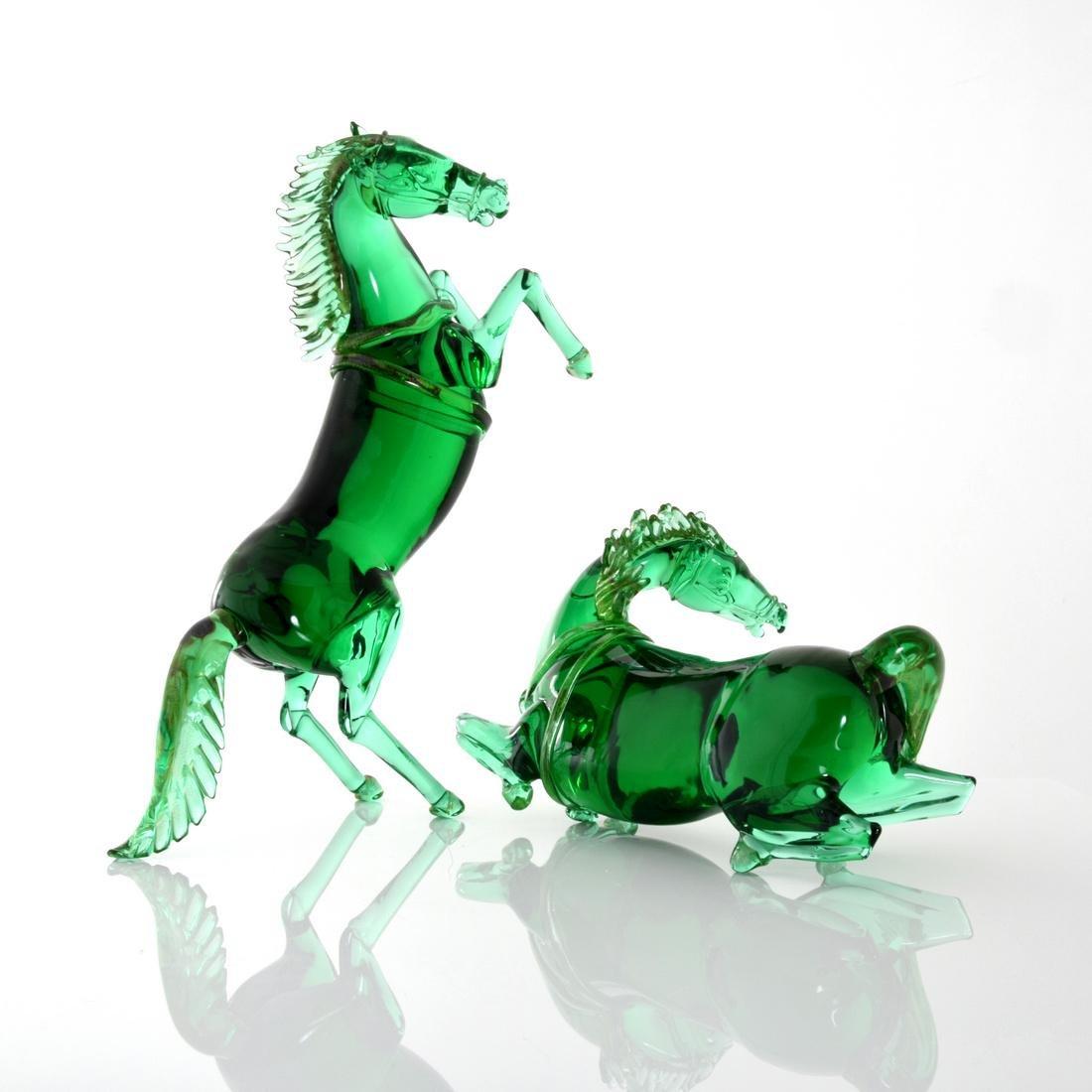 Pair of Large Pino Signoretto Horse Sculptures, Murano