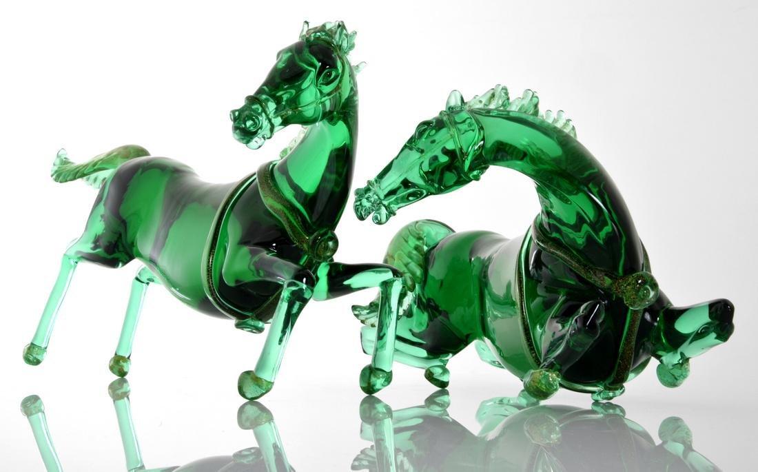 Pair of Large Pino Signoretto Horse Sculptures, Murano - 2