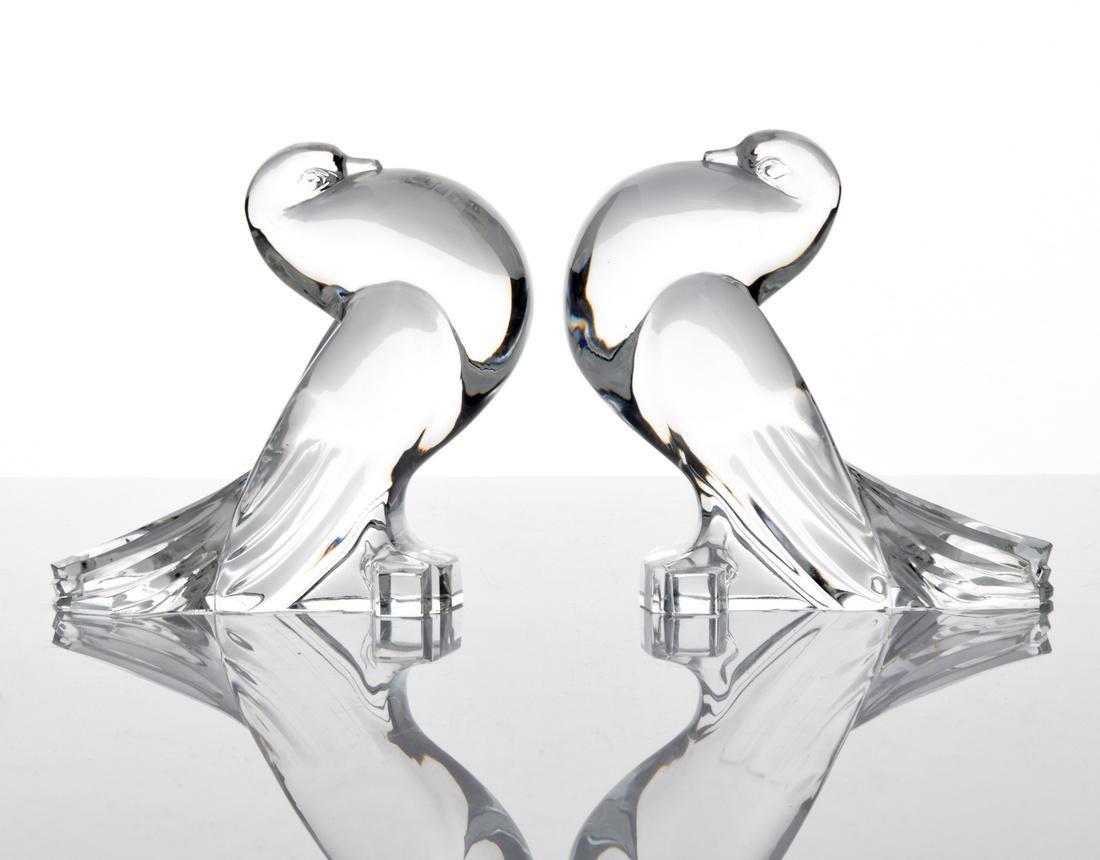 Pair of Steuben Birds