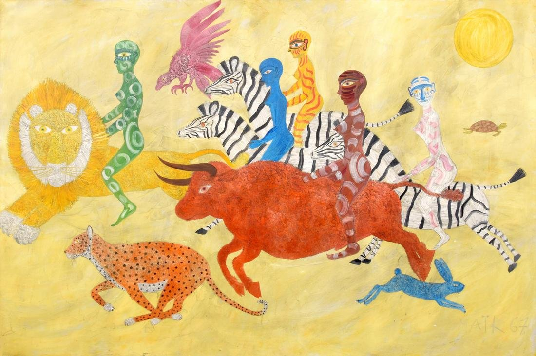Large Henri Hecht Maik Painting, Original Work