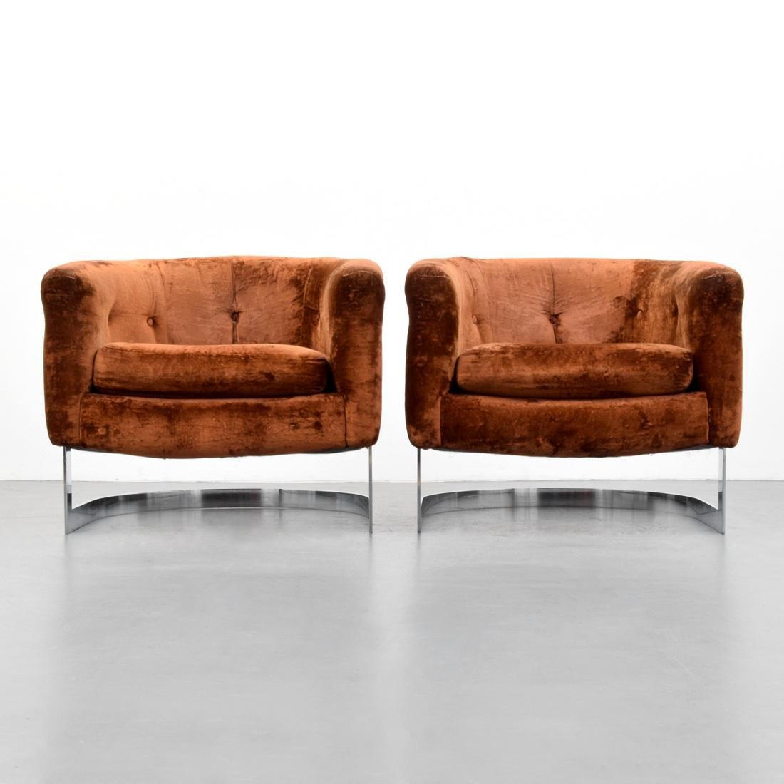 Pair of Lounge Chairs Attributed to Milo Baughman - 2