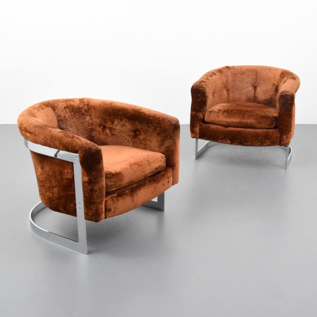 Pair of Lounge Chairs Attributed to Milo Baughman - 4