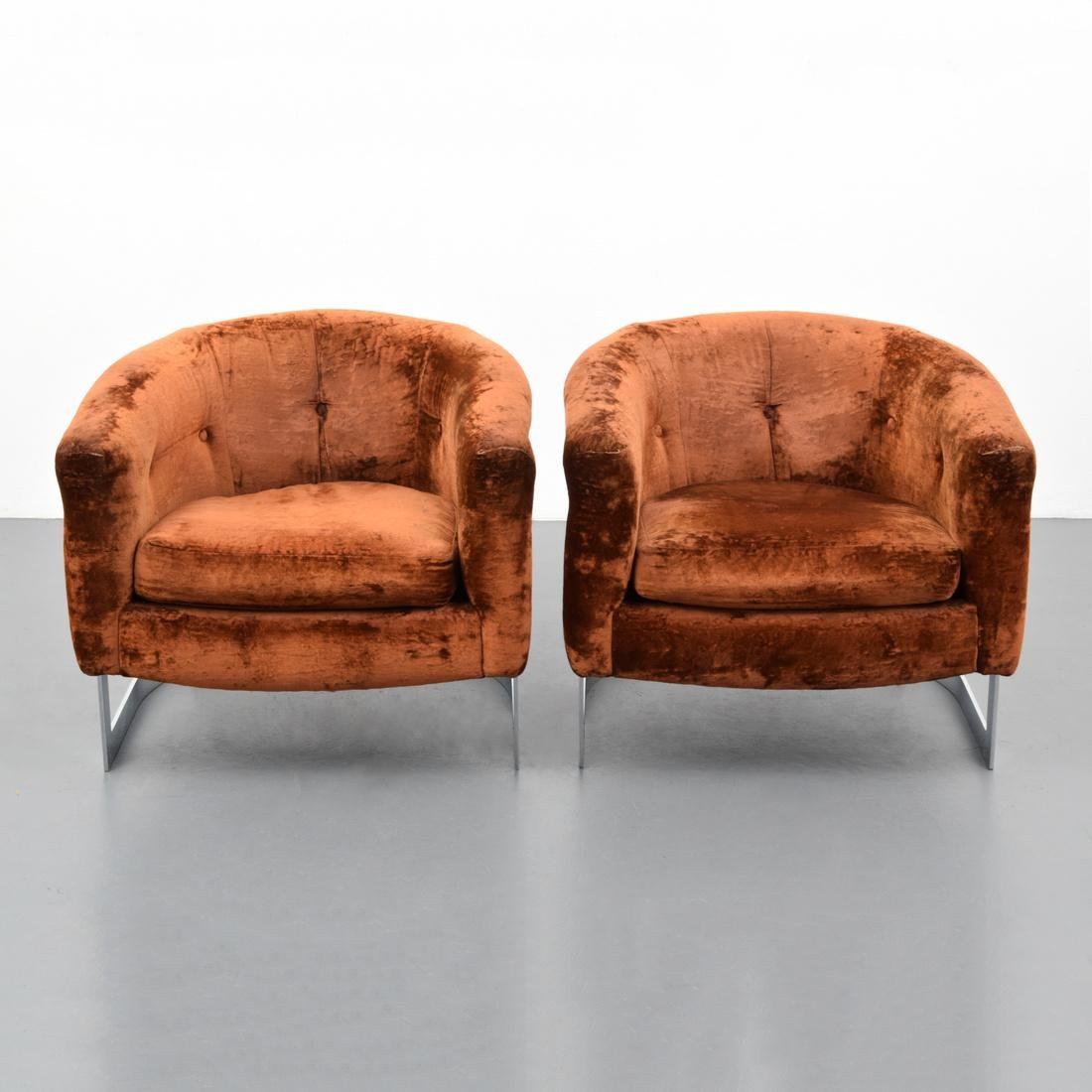 Pair of Lounge Chairs Attributed to Milo Baughman - 7