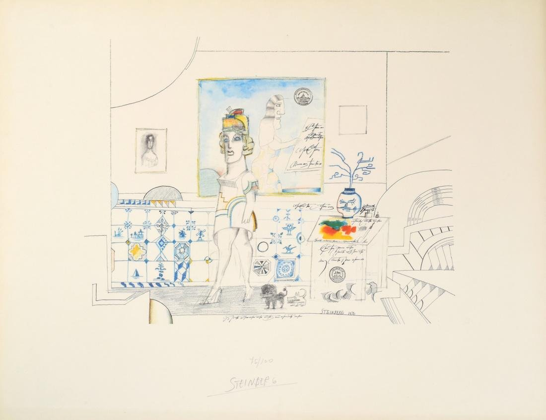 Saul Steinberg PORTRAIT OF R. Lithograph, Signed