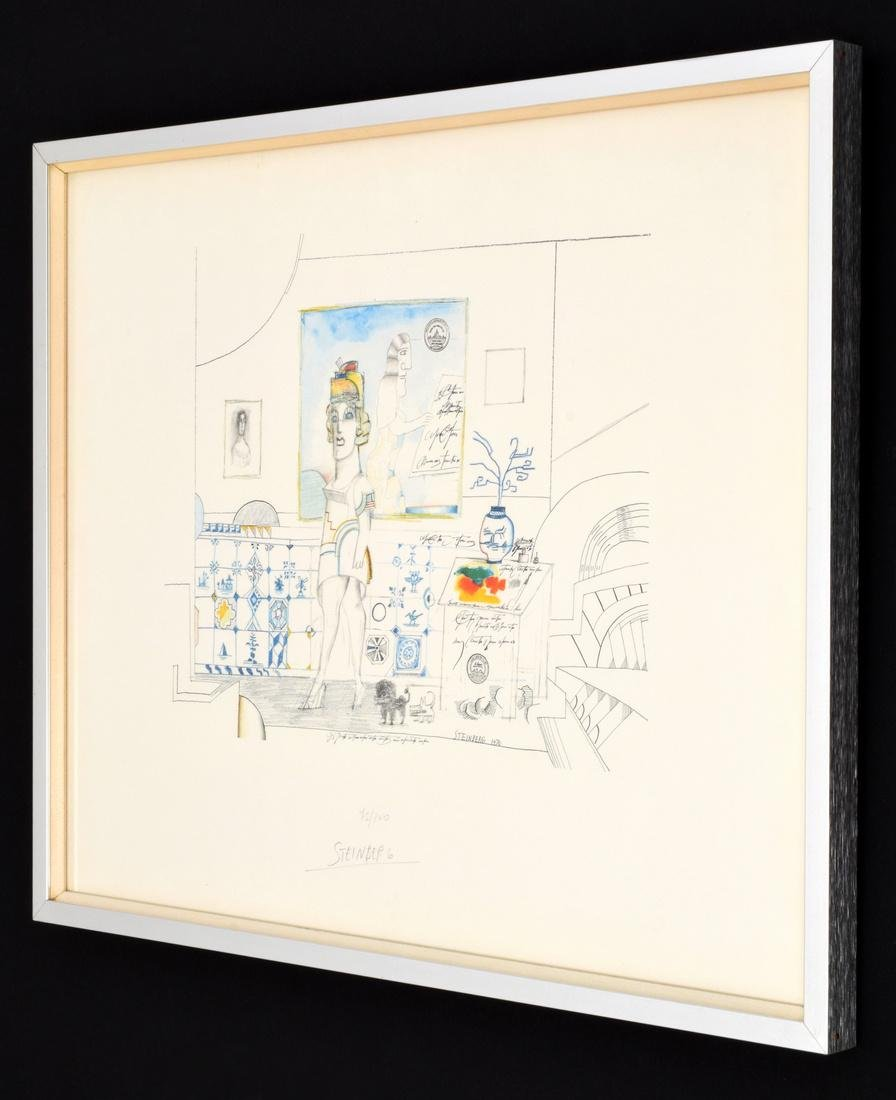 Saul Steinberg PORTRAIT OF R. Lithograph, Signed - 2